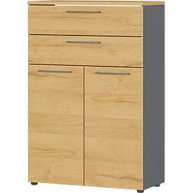 Aktenschrank Agenda Home, 3 OH, B 800 x T 400 x H 1200 mm, 2 Schubladen, abschließbar, Graphit/Eiche