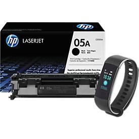 "Aktionsset Toner HP 05A LaserJet CE505A, schwarz + gratis Bluetooth Smartwatch ""Bracelet"""