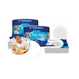 Image of Aktionsset Verbatim CD-R AZO Printable, 700 MB, 50er Spindel Doppelpack + 100 Stück CD Papierhüllen