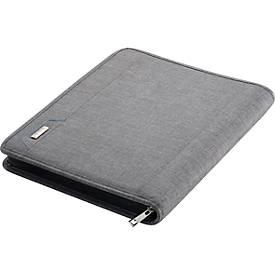 Alassio Orgamappe Lazio, DIN A4, Polyester, met opgevulde lade, grijs, met een grijze, gepolsterde lade
