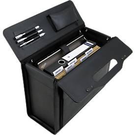 Alassio Pilotenkoffer, mit Tragegriff, mit Laptopfach, Rindleder, schwarz