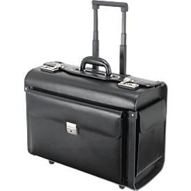 Alassio® valise pilote SILVANA avec trolley, en similicuir noir