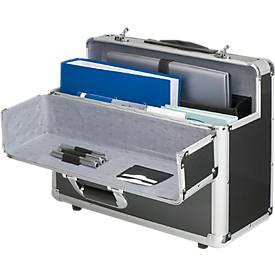 Alu-Pilotenkoffer, mit Laptopfach, silber, carbon
