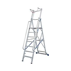 Alu-Stufen-Stehleiter, mit großer Standplattform, mit Sicherheitsbügel und Kette