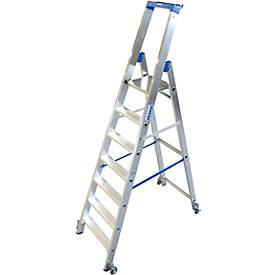 Alu-Stufenstehleiter, fahrbar, 7 Stufen