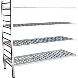 Aluminium-Steckregal, Anbaufeld, mit 4 Kunststoff-Rost-Fachböden, H 1800 x B 1500 mm
