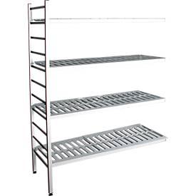 Aluminium-Steckregal, Anbaufeld, mit 4 Kunststoff-Rost-Fachböden, H 1800 x B 1000 mm