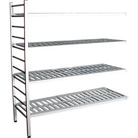 Aluminium-Steckregal, Anbaufeld, mit 4 Kunststoff-Rost-Fachböden, H 1800 x B 1200 x T 400 mm