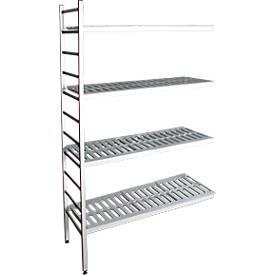 Aluminium-Steckregal, Anbaufeld, mit 4 Kunststoff-Rost-Fachböden, H 1800 x B 800 mm