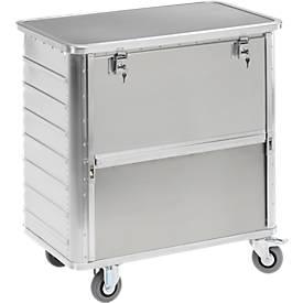 Aluminium transportwagen, 355 liter, met deksel en slot