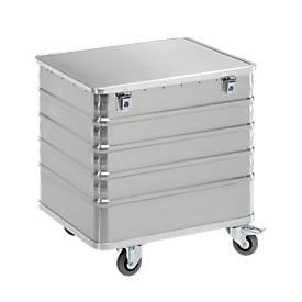 Aluminium transportwagen, met deksel, 223 l