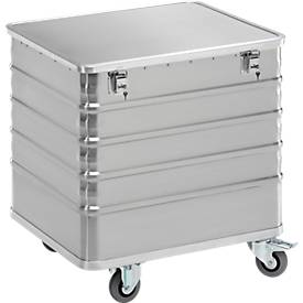 Aluminium transportwagen, met deksel en slot, 223 l