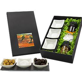 Antipasti Olivio, 3 Schälchen auf Schieferplatte, mit Oliven und 100 g Salz