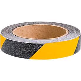 Image of Antirutschbelag CleanGrip, 50 mm x 25 m, selbstklebend, Rutschhemmung R 11 nach DIN 51130, schwarz-gelb, 1 Rolle
