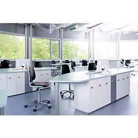 Arbeitsdrehstuhl Labsit hoch, Integralschaum, Gleiter, B 450 x T 420 x H 520 - 770 mm, blau