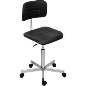 Arbeitsstuhl in Edelstahl-Standard-Ausführung, Rollen