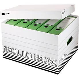 Archivbox Leitz Solid Box L 6119, mit Deckel & Aufbau-Automatik, 10 Stück, weiß