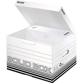 Archivbox Leitz Solid Box M 6118, mit Klappdeckel & Aufbau-Automatik, 10 Stück, weiß