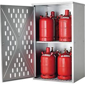 Armario para bombonas de gas LG.2845 asecos, para 4 x 33/10 x 11/18 x 5 kg, 1 pared, para exterior, con cerradura, An 840 x P 690 x Al 1500mm, acero