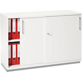 Armoire à portes coulissantes TETRIS WOOD, 2 HC, socle acier incl.,  l. 1200 x P 421 x H 800 mm