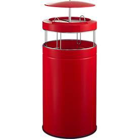 Asbak en afvalbak BIG ASH, 120 liter, rood
