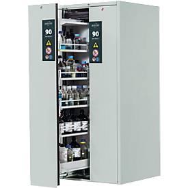 Asecos V-LINE-kast voor gevaarlijke stoffen, type 90, 2 verticale uittrekelementen, lichtgrijs/lichtgrijs