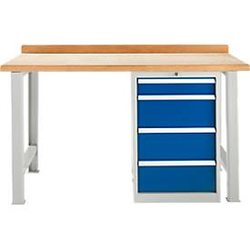 Établi TOP, armoire d'établi, 4 tiroirs, module de base