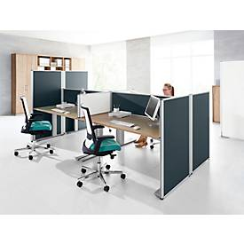 Auf-Tischtrennwand System 40, B 800 x H 400 mm, grau