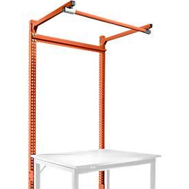 Aufbauportal m. Ausleger, Grundtisch STANDARD Arbeitstisch/Werkbank UNIVERSAL/PROFI, 1250 mm, rotorange