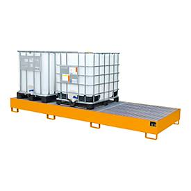 Image of Auffangwanne AW 1000-3, für 3 IBC-Container à 1000 l oder 10 Fässer à 200 l, L 3850 x B 1300 x H 340 mm, unterfahrbar, gelborange