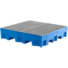 Auffangwanne, unterfahrbar, 4 x 200 Liter Fässer, Volumen 285 L, Gitterrost verzinkt