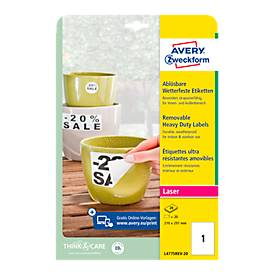 Avery afneembare  etiketten voor zwaar gebruik, L4775REV-20, 210 x 297 mm (A4-formaat), wit