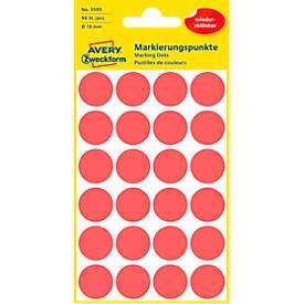 Avery Markierungspunkte 3595, wiederablösbar, 96 Stück, Ø 18 mm, rot