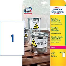 Avery Zweckform Etiquettes en film résistant aux intempéries, L4775-20, 210 x 297 mm, permanent,