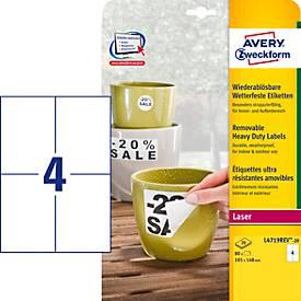 Avery Zweckform Folien-Etiketten, wetterfest, wieder ablösbar, 105 x 148 mm
