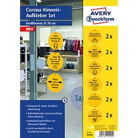 AVERY® Zweckform Klebeetiketten 49400 Corona, Designs speziell für Handel, beschreibbar, rund, gelb, 12 Stück