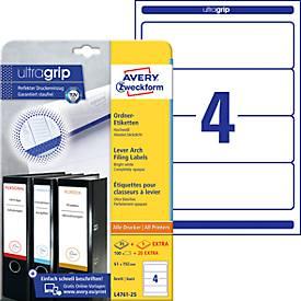 AVERY® Zweckform Ordner-Etiketten, ultragrip, 100 + 20 Stück