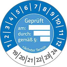 "AVERY® Zweckform Prüfplaketten ""Geprüft am / durch / gem. §"", 2019-2024, abziehsichere Folie, blau, Ø 30 mm"