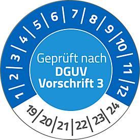 """AVERY® Zweckform Prüfplaketten """"Geprüft nach DGUV Vorschrift 3"""", 2019-2024, abziehsichere Folie, blau, Ø 30 mm"""