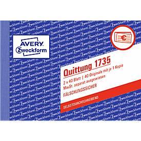 Avery Zweckform Quittungsblock 1735-5, A6 quer, 2 x 40 Blatt, 4er Pack + 1 gratis