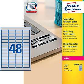 AVERY® Zweckform Typenschild-Etiketten L6009-100, 45,7 x 21,2 mm, 4800 Etiketten