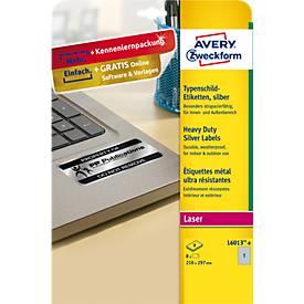 AVERY® Zweckform Typenschildetiketten, rechteckig, f. alle s/w Laserdrucker, 210 x 297 mm, silbern