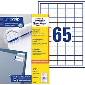 AVERY Zweckform Universal-Etiketten 3666-200, ultragrip, 38 x 21,2 mm, 13000 + 1300 Stück