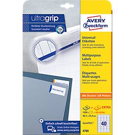 AVERY Zweckform Universal-Etiketten 4780, ultragrip, 48,5 x 25,4 mm, 1000 + 200 Stück