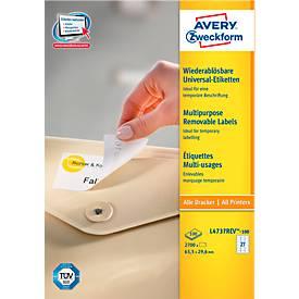 Avery Zweckform Universal-Etiketten L4737REV-100, 63,5 x 29,6 mm, wieder ablösbar
