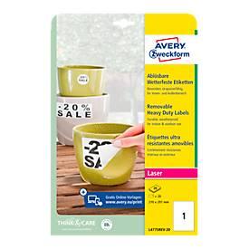 Avery Zweckform Wetterfeste Folien-Etiketten L4775REV-20, 210 x 297 mm, wiederablösbar, weiß
