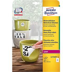 Avery Zweckform Wetterfeste Folien-Etiketten L4776REV-20, 99,1 x 42,3 mm, wiederablösbar, weiß