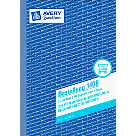 AVERY® Zweckform Bestellung Nr. 1406, weiß/weiß, 2. Blatt blanko, 1 Blatt Blaupapier