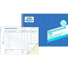AVERY® Zweckform Materialanforderung Nr. 1110, weiß/gelb, 1 Blatt Blaupapier