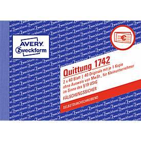 AVERY® Zweckform Quittung Kleinunternehmer, ohne MWSt. SD Nr. 1742